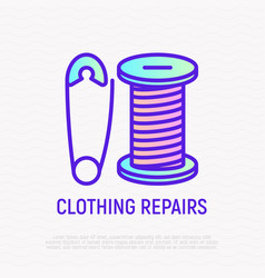 clothing repair thin line icon pin and thread vector image
