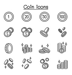 coin money icon set in thin line style vector image