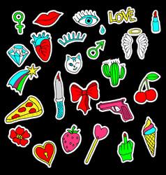 colorful set doodle fashion patch badges vector image