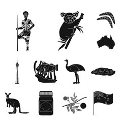country australia black icons in set collection vector image