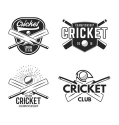 Cricket logo set sports template emblems elements vector