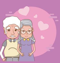 Cute grandparents couple vector
