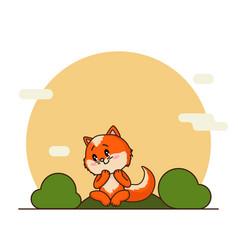 cute litttle red fox in cartoon style vector image
