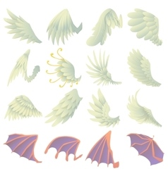Different wings icons set cartoon style vector image