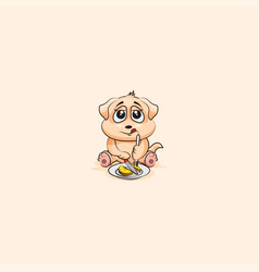dog cub sticker emoticon shares coin money vector image