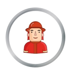 Firefighter icon in cartoon style isolated on vector