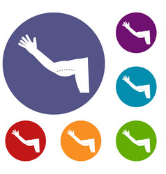 Flabby arm cosmetic correction icons set vector