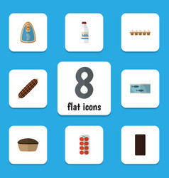 Flat icon eating set of canned chicken eggshell vector