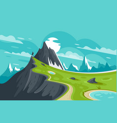 Flat man on nature mountain background with sun vector