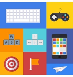 flat modern icons set on sample backgrounds vector image