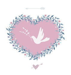 flower heart with bird vintage design elements vector image