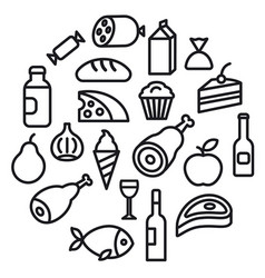 food grocery icons vector image