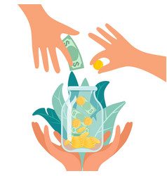fundraising charity and money donation concept vector image