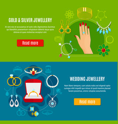 Gold and silver jewelry banners vector