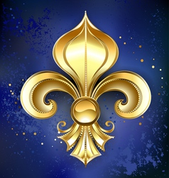 Gold Fleur De Lis on a Blue Background vector image