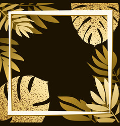 golden tropical leaves on the dark background vector image