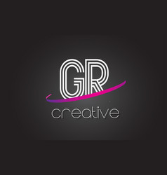 gr g r letter logo with lines design and purple vector image