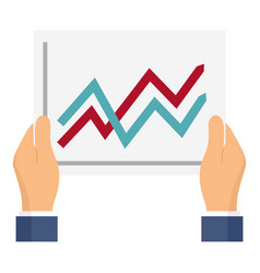 graph in hands icon flat style vector image