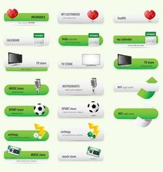 Green store buttons vector