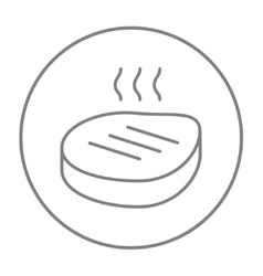 Grilled steak line icon vector image