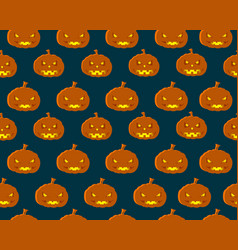 halloween seamless pattern with orange pumpkins vector image