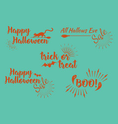 Halloween set of greeting card calligraphy vector