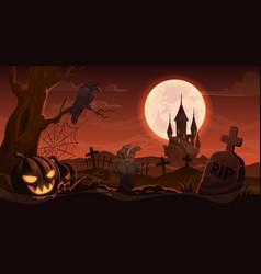 Halloween zombie hand tombstone on cemetery vector