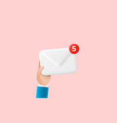 hand of businessman holds envelope with new emails vector image