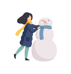 happy girl making snowman winter time activities vector image