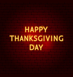 Happy thanksgiving day neon sign vector