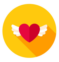 Heart with wings circle icon vector