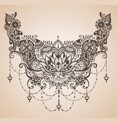 henna lotus tattoo for your body design vector image