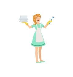 Hotel Professional Maid Washing Dishes vector