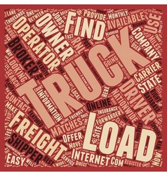 How To Find Truck Loads for Owner Operators text vector