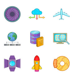 Inventory icons set cartoon style vector