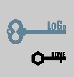 Key logo Key to door Key lock emblem for vector