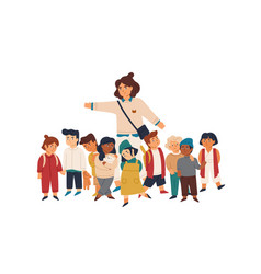 kindergarten tutor and pupils flat vector image