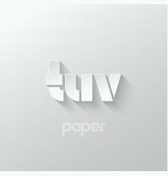 Letter t u v logo alphabet icon paper set vector