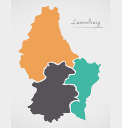 Luxembourg map with states vector