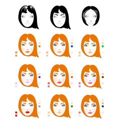 Make up for red-haired woman vector image