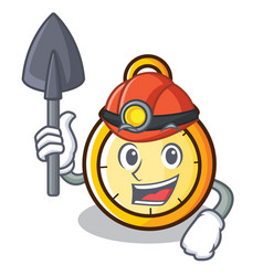 Miner chronometer character cartoon style vector