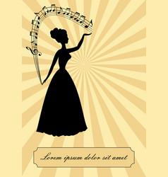 music theme vintage design victorian lady vector image