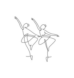 One single line drawing sexy woman ballerina vector