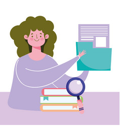 Online education teacher with folder document and vector