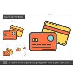 Online payment line icon vector