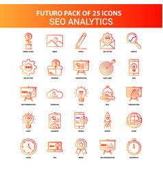 Orange futuro 25 seo analytics icon set vector