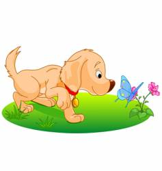 playing puppy vector image