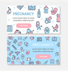 pregnance banner poster card ad horizontal set vector image