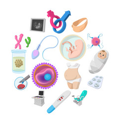 pregnancy cartoon icons set vector image