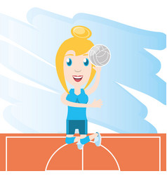 Pretty woman athlete playing volleyball vector
